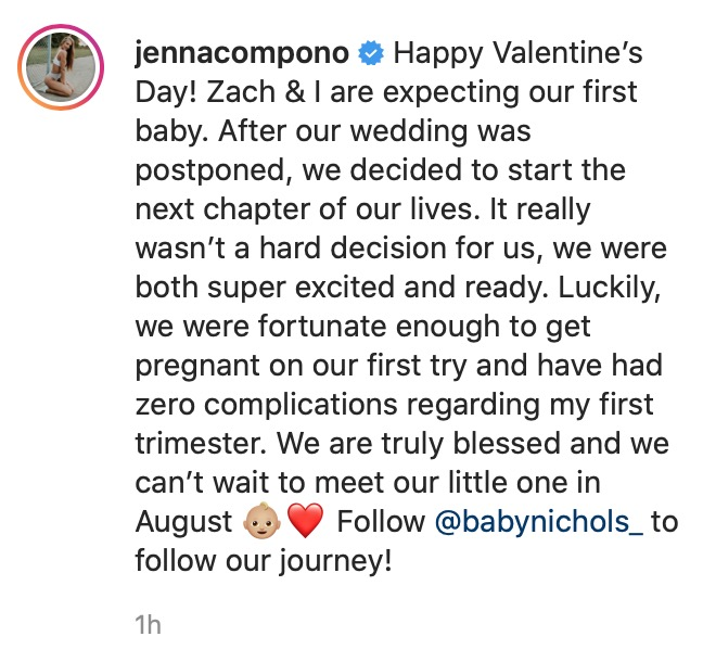 Jenna IG Announcement